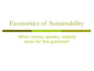 Economics of Sustainability