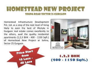 Homestead New Project Sohna Gurgaon Booking Open - Call Now