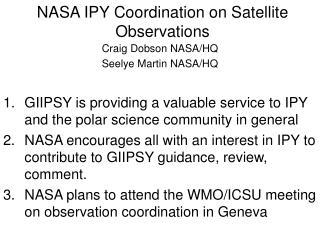 NASA IPY Coordination on Satellite Observations
