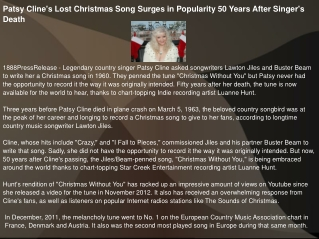 Patsy Cline's Lost Christmas Song Surges in Popularity