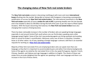 The changing status of New York real estate brokers