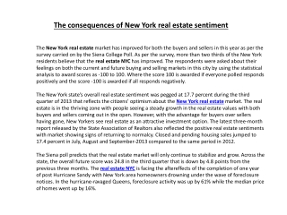 The consequences of New York real estate sentiment