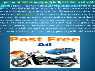 Improve Your internet business By simply Totally free Online