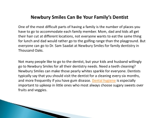 Newbury Smiles Can Be Your Family's Dentist