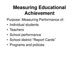 Measuring Educational Achievement
