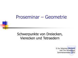 Proseminar   Geometrie