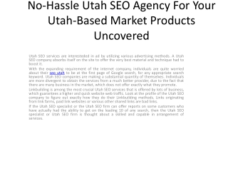 No-Hassle Utah SEO Agency For Your Utah-Based Markets