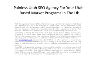 Painless Utah SEO Agency For Your Utah-Based Market