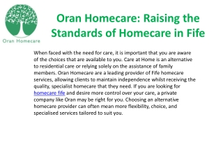 Oran Homecare: Raising the Standards of Homecare in Fife