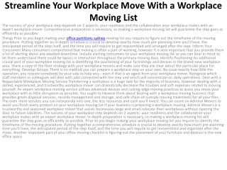 Streamline Your Workplace Move With a Workplace Moving