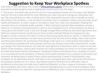 Suggestion to Keep Your Workplace Spotless