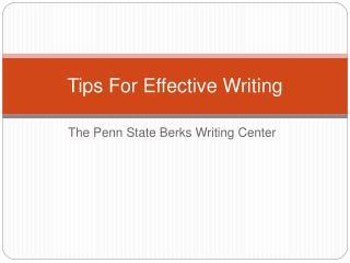 The Penn State Berks Writing Center