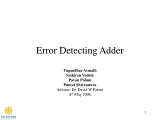 Error Detecting Adder
