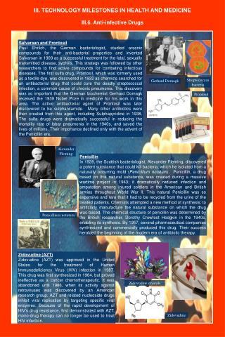 III. TECHNOLOGY MILESTONES IN HEALTH AND MEDICINE
