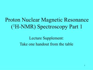 1H-NMR Spectroscopy Background and Theory