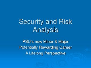 Security and Risk Analysis