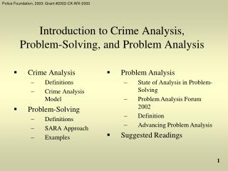 Introduction to Crime Analysis, Problem-Solving, and Problem Analysis