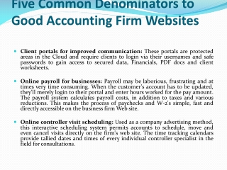 Five Common Denominators to Good Accounting Firm Websites