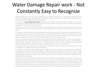 Water Damage Repair work - Not Constantly Easy1