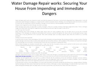 Water Damage Repair works