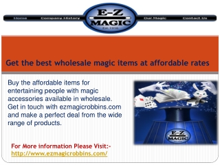 Get the best wholesale magic items at affordable rates