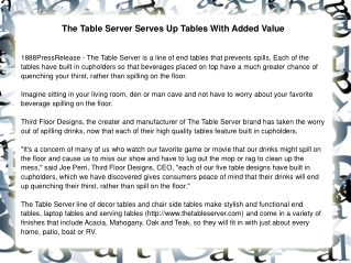 The Table Server Serves Up Tables With Added Value