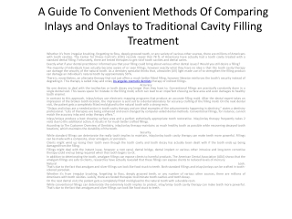 A Guide To Convenient Methods Of Comparing Inlays