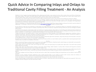 Quick Advice In Comparing Inlays and Onlays to