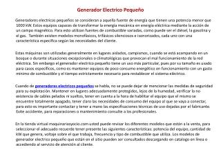 Generador Electrico Peque