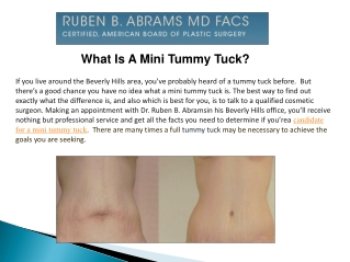 What Is A Mini Tummy Tuck?