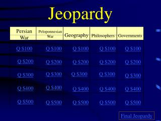 Jeopardy Persian War Peloponnesian War