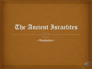 The Early Israelites