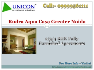 Rudra Aqua Casa Greater Noida - 09999561111 - Rudra Group