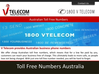 Australian toll free numbers