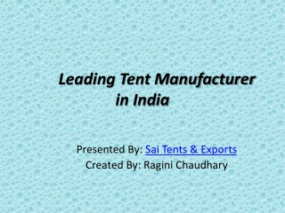 Leading Tent Manufacturer in India