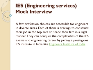 IES (Engineering services) Mock Interview