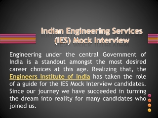 Indian Engineering services IES-ESE 2013 Mock Interview
