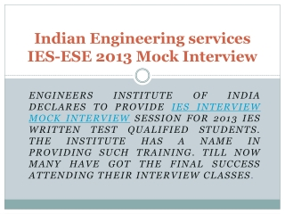 Indian Engineering Services (IES) Mock Interview