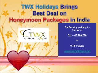 TWX Holidays brings best deal on Honeymoon Packages in India