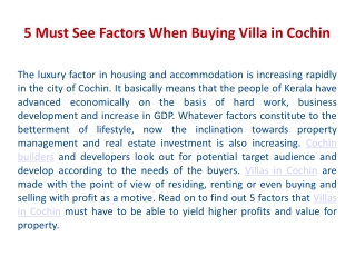 5 Must See Factors When Buying Villa In Cochin