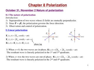 Chapter 8 Polarization  October 31, November 2 Nature of polarization  8.1 The nature of polarization Introduction: Supe