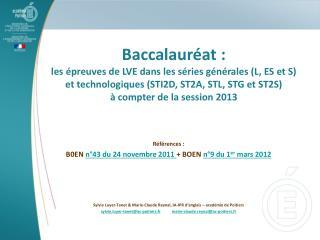 Baccalaur at : les  preuves de LVE dans les s ries g n rales L, ES et S  et technologiques STI2D, ST2A, STL, STG et ST2S