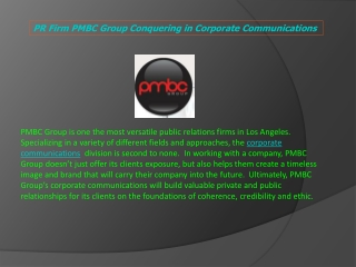 PR Firm PMBC Group Conquering in Corporate Communications