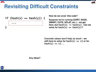 Revisiting Difficult Constraints