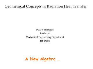 Geometrical Concepts in Radiation Heat Transfer