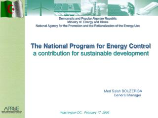 The National Program for Energy Control  a contribution for sustainable development
