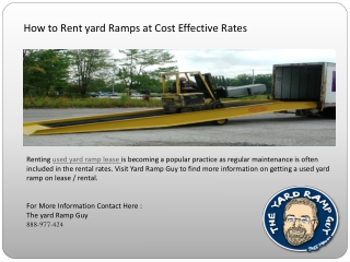 How to rent yard ramps at cost effective rates
