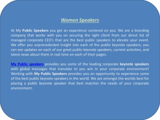 Women Speakers