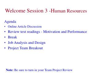 Welcome Session 3 -Human Resources