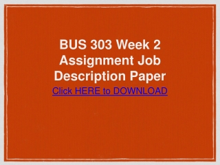 BUS 303 Week 2 Assignment Job Description Paper